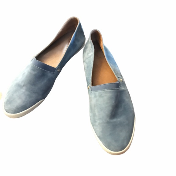 Frye Camille Blue Suede Slip-On Shoes